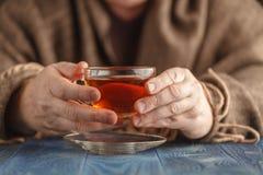 Varmt te för manlig drink i kall dag Royaltyfria Bilder