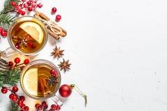 Varmt te för vinter med frukt, bär och kryddor på den vita tabellen arkivfoton