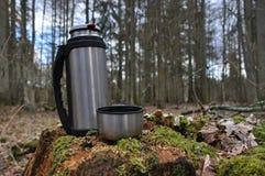 Varmt te i termoset för en gå i träna Arkivfoto