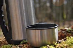 Varmt te i termoset för en gå i träna Arkivbild