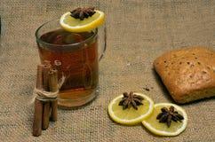 Varmt te med citronen, kanel och timjan royaltyfri fotografi