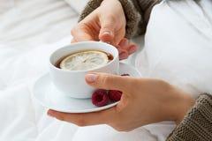 Varmt te med hallon för influensa royaltyfri fotografi