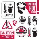 Varmt tecken för varning, kaffe stock illustrationer