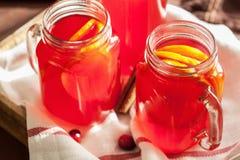 Varmt tranbärte med den orange kanelbruna värmedrinken Royaltyfri Foto