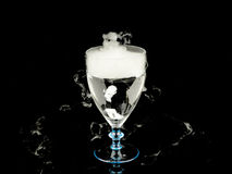 Varmvatten i vinexponeringsglas med rök på svart bakgrund Arkivfoto