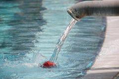 Varmvatten som flödar in i en pöl som spelar en boll Royaltyfria Bilder