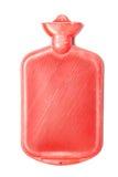 Varmvattenflaska eller röd färg för påse på isolerat Arkivfoto