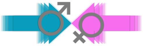 Varón contra flechas femeninas Fotografía de archivo libre de regalías