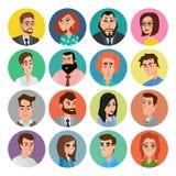 Varón de la historieta y colección de las caras de la hembra Sistema del icono de la colección del vector del diseño plano modern Imagen de archivo libre de regalías