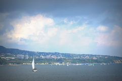 Varna bay sailing boats race Stock Photo