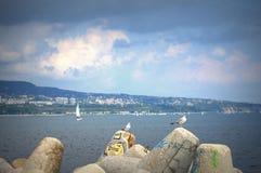 Varna bay sailing boats race Stock Images