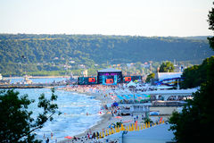 Varna beach MTV concert scene. The scene and audience on Varna beach just before the start of  MTV party.For the first time, MTV came to Bulgaria to produce an Royalty Free Stock Photos