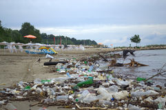 Varna beach pollution after flood Stock Photos