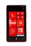 Varna Bułgaria, Luty, - 03, 2013: Telefon komórkowy wzorcowy Nokia Lumi Obraz Stock