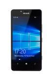 Varna, Bulgária - 11 de dezembro de 2015: Telefone celular Microsoft modelo Imagens de Stock Royalty Free