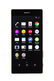Varna, Bulgária - 25 de novembro de 2015: Telefone celular Sony Xperia modelo Fotos de Stock Royalty Free