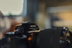 VARNA, BULGÁRIA, o 24 de fevereiro de 2017: Close-up abstrato de Sony imagens de stock
