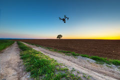 Varna, Bulgaria - April 21 ,2016: Image of DJI Inspire 1 Pro drone UAV quadcopter which shoots 4k video and 16mp still images. And is controlled by wireless stock photos