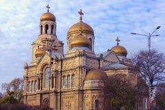 Varna, Bulgaria: Cattedrale ortodossa del presupposto del vergine alla luce di tramonto Fotografia Stock Libera da Diritti