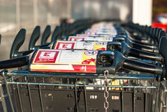Varna, Bulgaria - 06/03/2017. Closeup of stacked column shopping. Varna/ Bulgaria - 06/03/2017. Closeup of stacked column shopping carts store Kaufland. Varna stock images