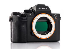 Varna, Bulgaria - February 02,2017: Alpha a7R II Mirrorless Camera. Varna, Bulgaria - February 02,2017: Image of Alpha a7R II Mirrorless Digital Camera with full royalty free stock photo