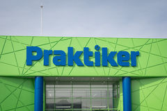 Varna, Bulgaria - February 1, 2016: Praktiker logo on their market. Praktiker is an international hypermarket chain, opened its fi Stock Photography