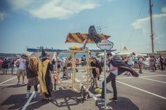 Varna, Bulgaria - 2 giugno 2016: Concorrenza di Red Bull Flugtag Fotografia Stock Libera da Diritti