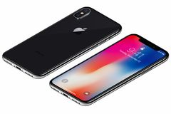 Isometric Space Gray Apple iPhone X front side with iOS 11 lockscreen and back side isolated on white background Stock Photography