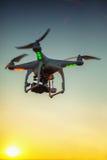 Varna, Bulgaria - June 23 ,2015: Flying drone quadcopter Dji Phantom 2 with digital camera GoPro HERO4 royalty free stock images