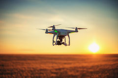 Varna, Bulgaria - June 23 ,2015: Flying drone quadcopter Dji Phantom. 2 with digital camera GoPro HERO4 royalty free stock images