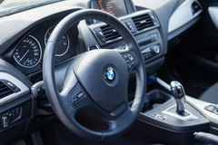 VARNA, BULGARIA - MARCH 17, 2016: The Interior of BMW Steering Wheel. BMW is a German automobile, motorcycle and engine manufactur Royalty Free Stock Photo