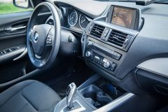 VARNA, BULGARIA - MARCH 17, 2016: The Interior of BMW Steering Wheel. BMW is a German automobile, motorcycle and engine manufactur. Ing company founded in 1916 Royalty Free Stock Photo