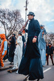 Varna, Bulgaria, March 26, 2016: Participants of the annual Spring Carnival marching on stilts. Royalty Free Stock Photography
