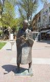 VARNA, BULGARIA - MAY 02, 2017: Monument to man with fish on boulevard knyaz Boris I royalty free stock images