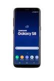 Varna, Bulgaria - May, 11, 2017: Samsung Galaxy S8 smartphone. Varna, Bulgaria - May, 11, 2017: Studio shot of a black Samsung Galaxy S8 smartphone, with 12 MP Stock Images
