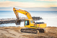 Varna, Bulgaria - 27 November, 2015: Hyundai Robex 210LC-9 Crawler. Excavator on a field. The R210LC-9 has horizontal reach of 10,9 m and dregding depth of 7,7 Royalty Free Stock Images