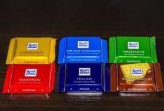 Ritter Sport milk chocolate bars. Varna, Bulgaria - November 14 2017: Ritter Sport milk chocolate bars. Ritter Sport chocolate bar made by Alfred Ritter GmbH & Royalty Free Stock Images