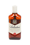 Varna, Bulgaria - September 21, 2016: Ballantines whisky isolated on white background. Ballantines is blended scotch whisky produc Royalty Free Stock Image