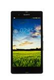 Varna Bulgarien - mars 03, 2013: Mobiltelefonmodell Sony Xperia Z Arkivbild