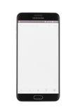 Varna Bulgarien - Oktober, 04, 2016: Smartphone för Samsung galax S6 Edge+ Arkivfoto
