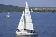 Varna channel boats stock photography