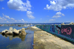 Varna city skyline and breakwater Royalty Free Stock Images