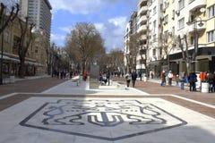 Varna city street emblem. Varna city emblem made on the just renovated main pedestrian ,Bulgaria Stock Image