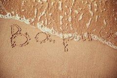 Varna escrito em uma areia da praia Imagem de Stock Royalty Free