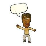 varna för ilsken man för tecknad film vinkande med anförandebubblan Arkivbild