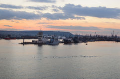 Varna harbor with cargo docks after sunset Royalty Free Stock Images
