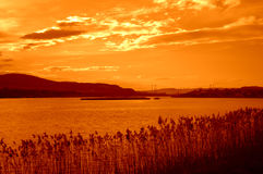 Varna lake orange sunset scenery Royalty Free Stock Photography