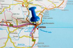 Varna on map. With push pin Royalty Free Stock Photography