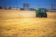 Varna-Region, Bulgarien - 20. Juni 2015: Traktor John Deeres 6115R mit dem Anhänger auf einem gelben Feld Lizenzfreie Stockbilder