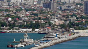 Varna - the sea capital of Bulgaria. The third largest city in the country. The city was founded by the ancient Greeks. It is the largest Bulgarian sea port stock video footage